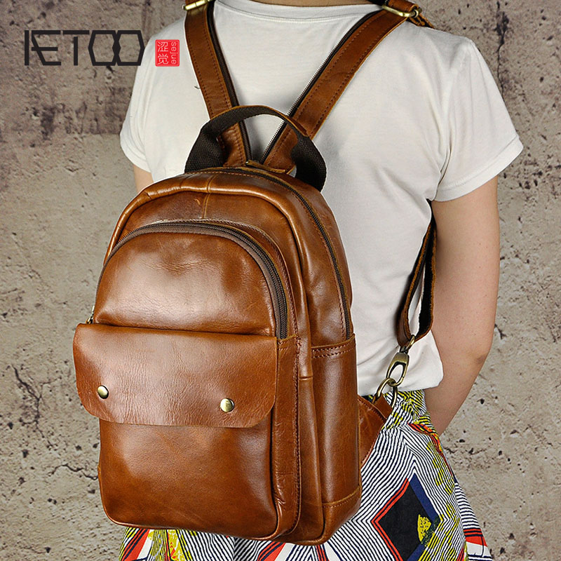 AETOO First layer of leather leather backpack casual 10-inch shoulder brown travel backpack computer bag aetoo casual fashion shoulder bag leather new female package first layer of leather bags simple temperament leisure travel packa