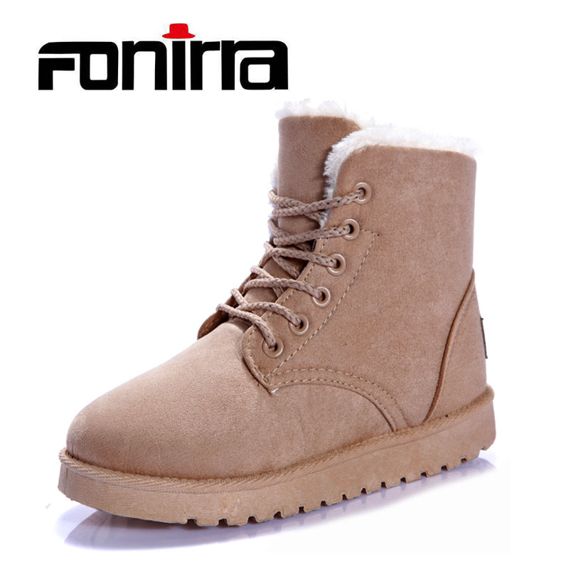 FONIRRA 2017 NEW Winter Women Snow Boots Woman Solid Warm Comfort Short Lace-Up Martin Boots  Flat Bottom Short Ankle Boots 060 short boots woman the fall of 2017 a new restoring ancient ways british wind thick boots bottom students with martin boots