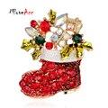MloveAcc Presentes de Natal Agradável Red Bota Sapato Broches Pinos para As Mulheres Banhado A Ouro de Strass Broches de Natal para o Ano Novo