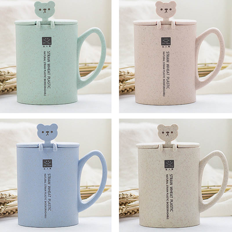 heat-resistant cup color Cartoon Spoon with lid cup milk coffee Mug children Eco-Friendly cup office gifts