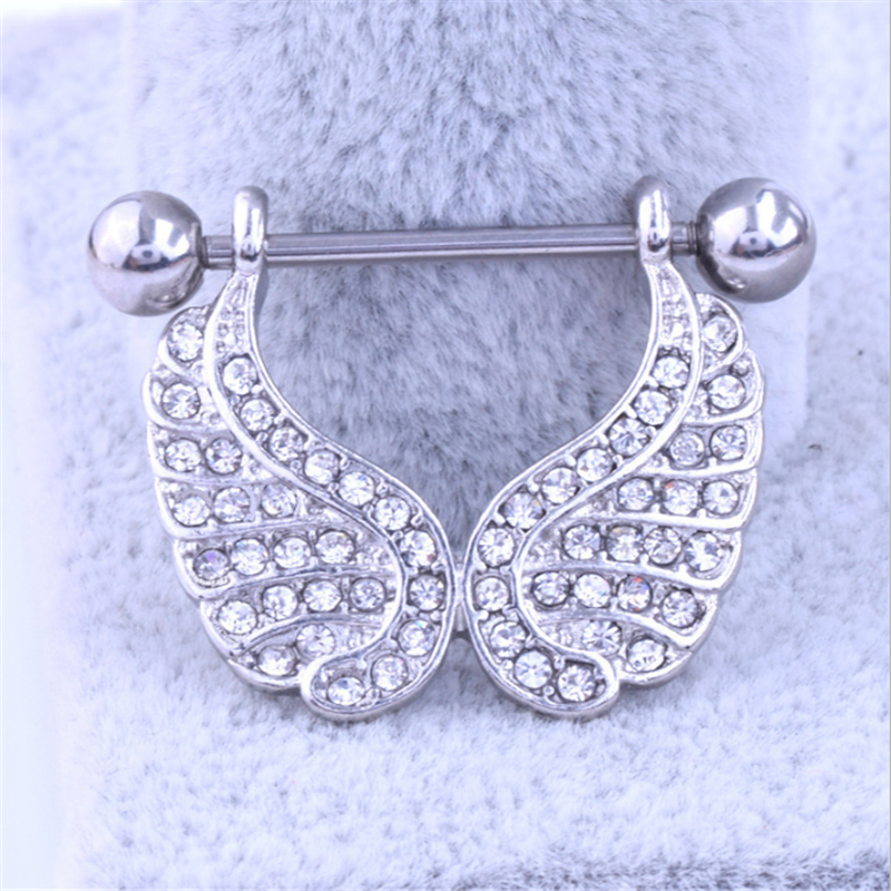 2PCS New Fashion Style Nipple Rings Wings White Crystal Sexy Women Nipple Rings Punk Body Jewelry Piercing Gift Summer Style