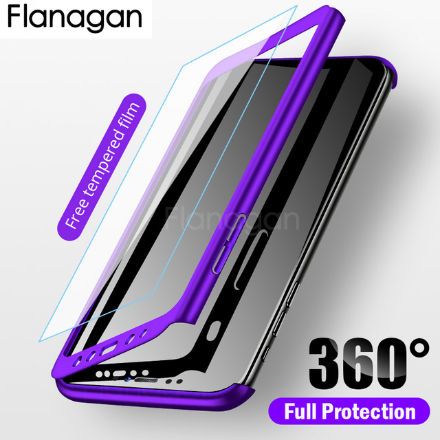 FlanaGan Luxury 360 Full Cover Phone Case For Samsung Galaxy A7 A5 A3 2016 2017 Protective Case For Samsung A8 A6 Plus 2018 Case