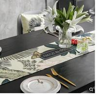 Modern light luxury plants printed table runner dinning table cloth cover for family party table setting decor