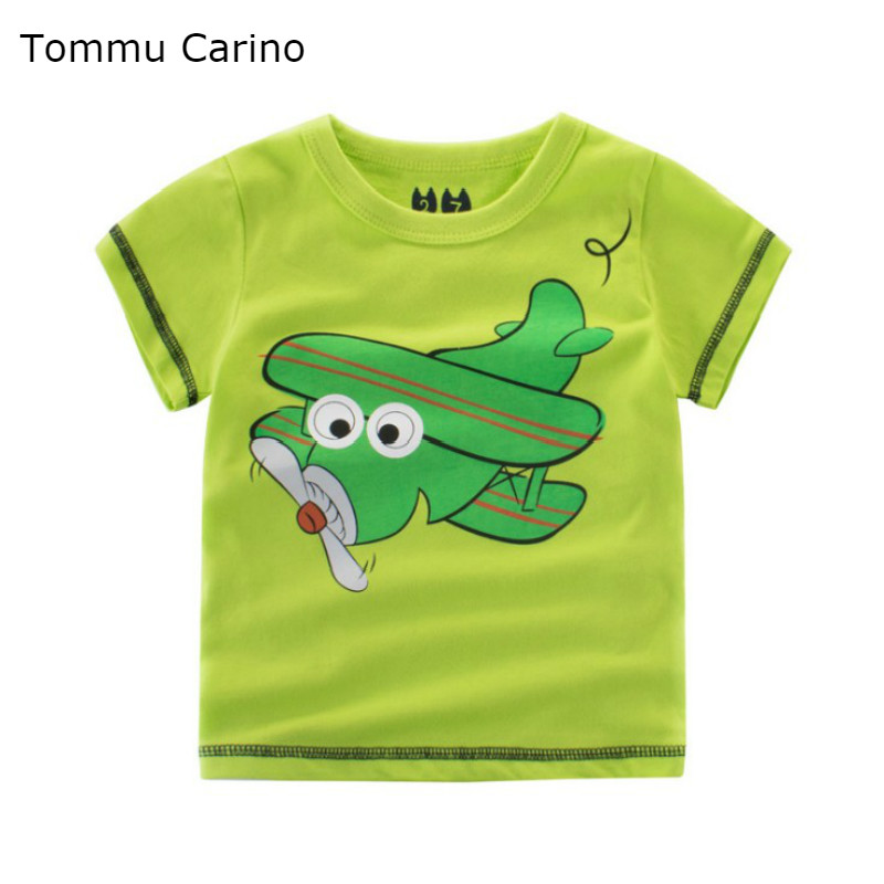 Children Boys Summer Tops Short Sleeved T Shirt Small Boys Cartoon lovely Aircraft Print T shirt