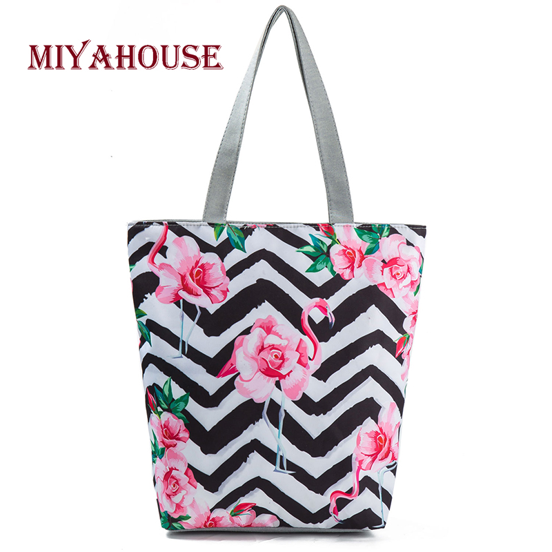 Miyahouse Trendy Female Canvas Handbags Cute Flamingo Print Tote Bag Striped Floral Beach Bags High Capacity Ladies Shopping Bag v neckline contrast floral print striped tee