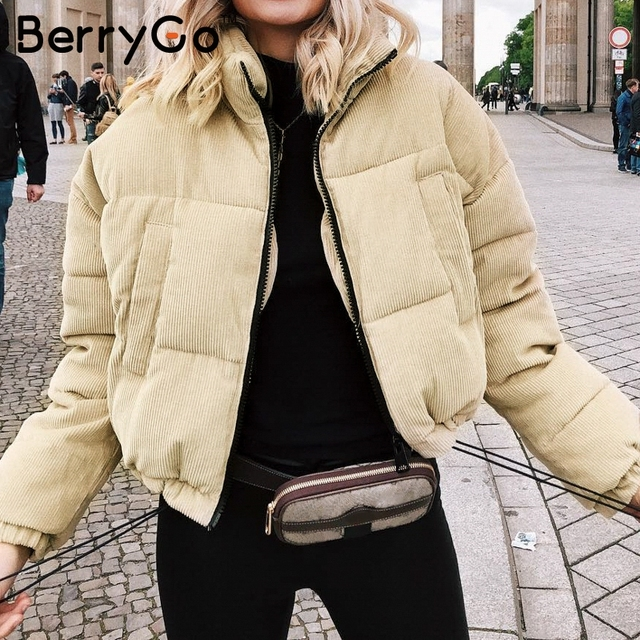 BerryGo Casual corduroy thick parka overcoat Winter warm fashion outerwear coats Women 2018 khaki streetwear jacket coat female 2
