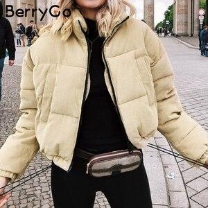 Image 3 - BerryGo décontracté velours côtelé épais parka pardessus hiver chaud vêtements mode manteaux femmes surdimensionné streetwear veste manteau femme