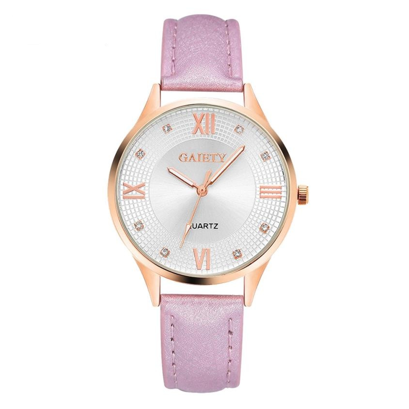 Women Watch Fashion Leather Band Analog Quartz Round Wrist Watch Watches Casual ladies Watch Relogio Feminino