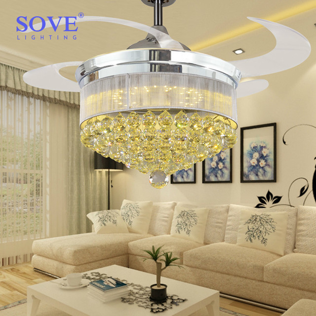 42 inch chrome modern led retractable ceiling fans with lights 42 inch chrome modern led retractable ceiling fans with lights living room folding ceiling fan crystal mozeypictures Gallery