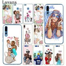 Fashion Black Brown Hair Baby Mom Girl Queen Case for Huawei P30 P20 Pro P9 P10 Plus P8 Lite Mini 2016 2017 P smart Z 2019(China)
