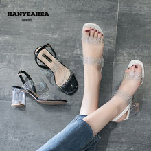 Open Toe Transparent Heels Sweet Fashion Sandalias De Verano Para Mujer Elegane Mature