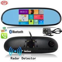Nueva 5 pulgadas Espejo GPS Android Teléfono Gps Bluetooth DVR llamada 16 GB de Doble Cámara de Visión Trasera Radar Detector Quad Core Espejo
