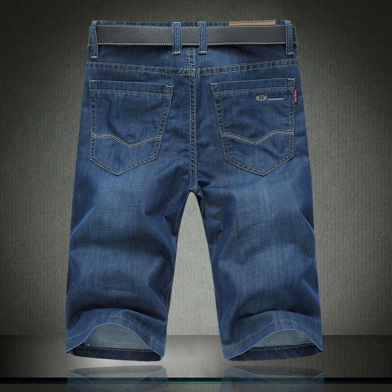 2018 100% Cotton Summer Men Jeans Slight Classic Denim Short Pants Male Washed Baggy Designer Causal Jean Man 30- 46 42 44 #1376