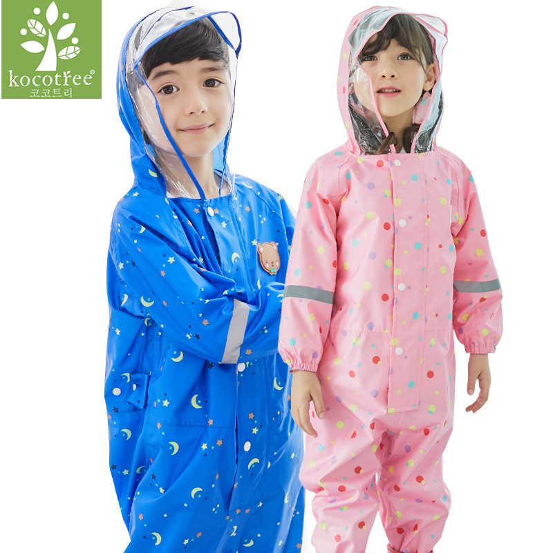 بدلة واقية من المطر للأطفال والأولاد والبنات من عمر 1-6 سنوات مضادة للماء مع قبعة عليها رسوم متحركة للأطفال من قطعة واحدة
