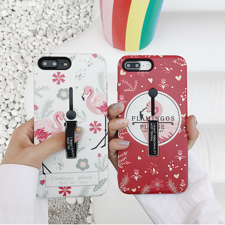 fashion flower flamingo case For iphone 7 7Plus 8 8Plus case X Leaves Floral Case Fashion Stretch Ring Stand Cover For woman