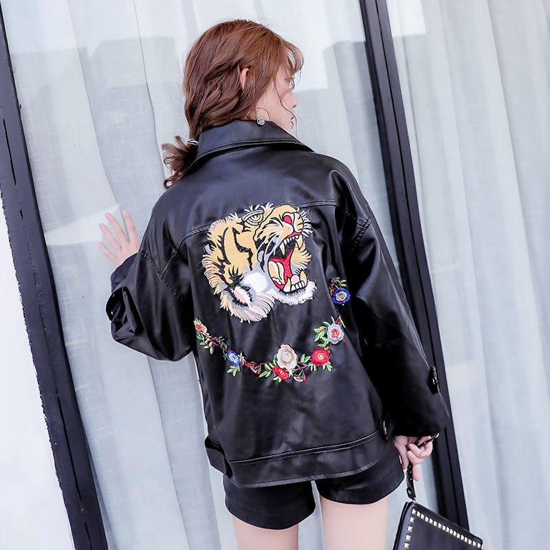 Filles Broderie Automne Aboorun Pour X2376 Printemps Femmes Mode Pu Tigre En Cuir Veste Manteau Moteur Black vOw0vUxq