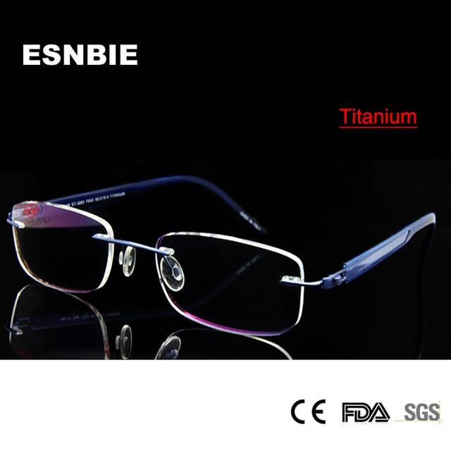 35a9278af18c ESNBIE Titanium Eyeglasses Rimless Glasses For Men Optical Eyeglass Frames  Blue Color Prescription Glasses Frames