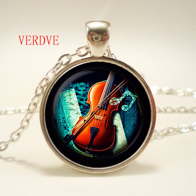 "\""Violin Glass Pendant..."