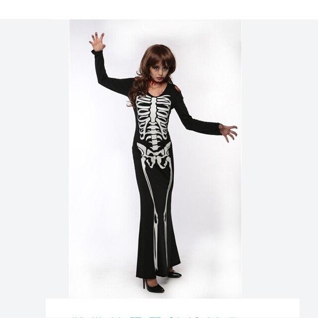 d5dc4cd0154898 Nieuwe Collectie Hot Black Skeleton Lange Jurk Halloween Skelet Kostuum  Vrouwen Nachtclub Party Cosplay Jurk Carnaval