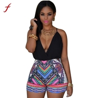Sexy Bodysuit 2017Women Print Deep V Neck Backless Cross Clubwear Bodycon Mini Rompers Europe And America