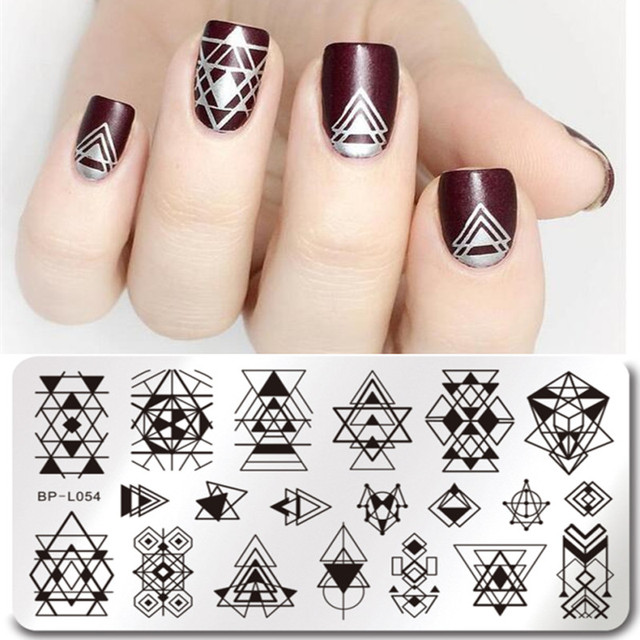 BORN PRETTY Geometry Nail Stamping Template Negative Space Puzzle Figure Flower Arrow Stamp Manicure