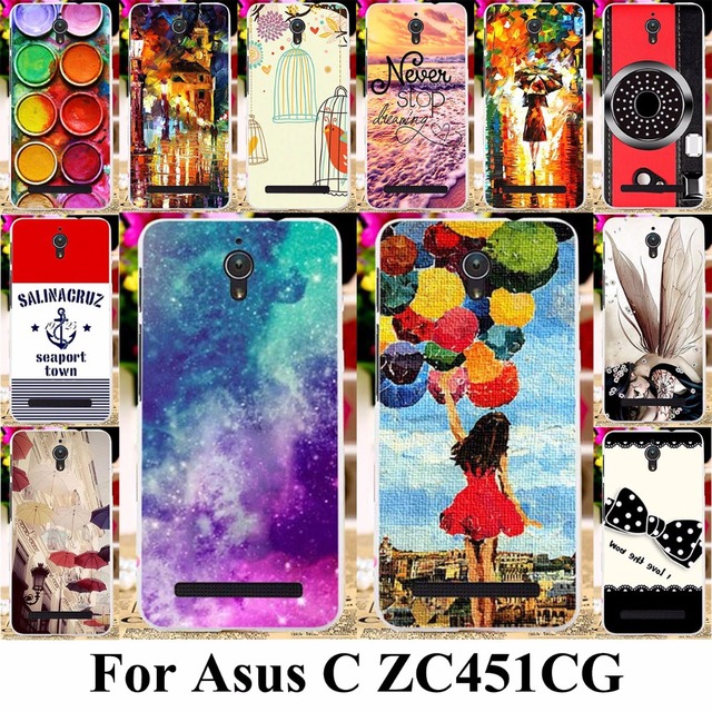 TAOYUNXI Silicone Cover Case For Asus Zenfone C ZC451CG Z007 ZenfoneC 4.5 inch Case TPU Plastic Color Painting Cover Bags