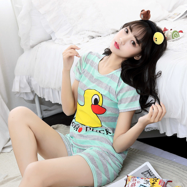 7c466a0ea9a4 Yellow Duck Summer Cute Short Rabbit Milk Cotton Casual Nightwear Pajamas  Pyjamas For Women Size M-XXL Cheap Clothes