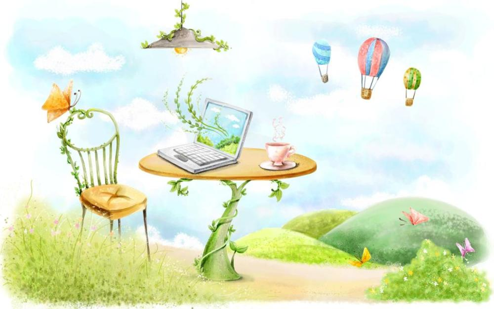 drawing table chair laptop lamp butterfly circle lianas balloons 4 Size Home Decoration Canvas Poster Print
