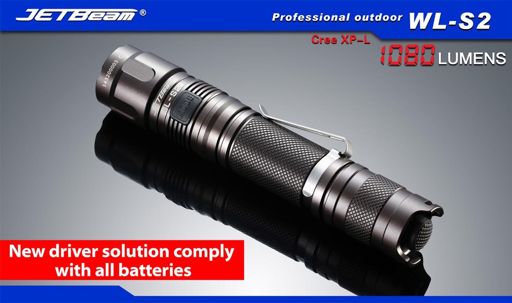 2015 Original JETBEAM WL-S2 CREE XP-L LED 1080 lumens flashlight daily torch Compatible with 18650 16340 battery купить