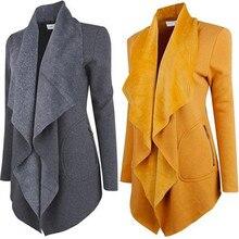 2017 new women's fall and winter clothing cashmere coat lapel leather jacket coat irregular