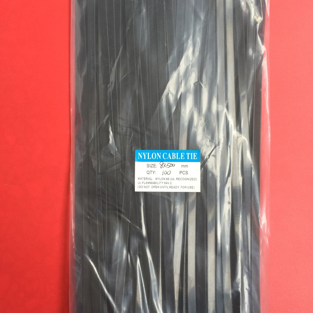 100Pcs/pack 8*500mm High Quality width 7.6mm Black Color (National Standard) Self-locking Plastic Nylon Cable Ties,Wire Zip Tie 100pcs pack 4 200mm width 2 7mm colorful factory standard self locking plastic nylon cable ties wire zip tie