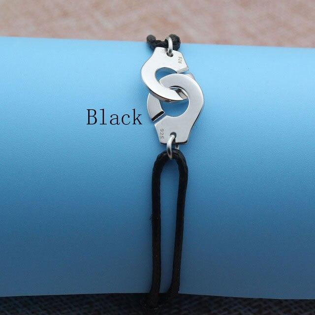 Браслет Menotte Франция Париж ювелирные изделия 925 стерлингового серебра браслет наручники для женщин с веревкой 925 Серебряный кулон Веревка Браслет - Окраска металла: Black