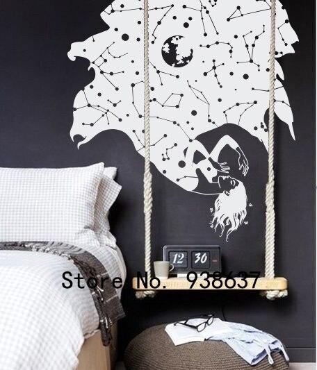 Constellation Étoiles Tomber Femme Sticker Chambre Salon Amovible Décoration de La Maison Belle Fille Stickers Muraux ZA901