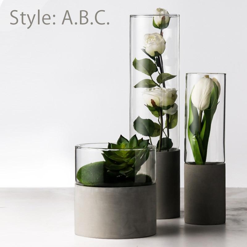 Ciment fleur verre Vase nordique mariage fleur Arrangement Transparent hydroponique verre charnu Pot de fleur Vase pour la maisonCiment fleur verre Vase nordique mariage fleur Arrangement Transparent hydroponique verre charnu Pot de fleur Vase pour la maison