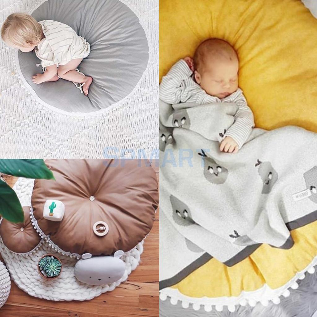 Kids Baby Infant Thick Game Play Mat, Round Crawling Pad, Floor Cushion Seat Pad
