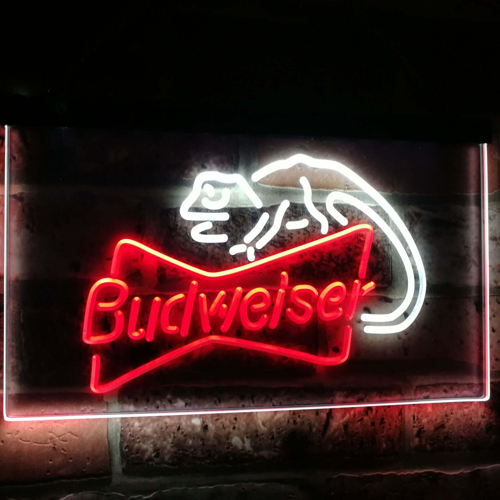 Budweiser lézard Bar à bière décoration cadeau double couleur Led néon signes st6-a2084