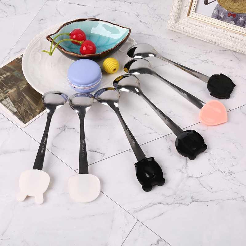 Cuchara de bebé de acero inoxidable de dibujos animados comida vajilla cena platos de postre entrenamiento