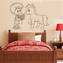 Kidsroom Poster Mural Feeding Horse To Graze Boy Wall Sticker Vinyl Art Removeable Decals Decor Modern Cute Beauty Poster LY1239 wall sticker cartoon pig kidsroom decoration pig family decor vinyl art removeable poster beauty modern style mural poster ly628