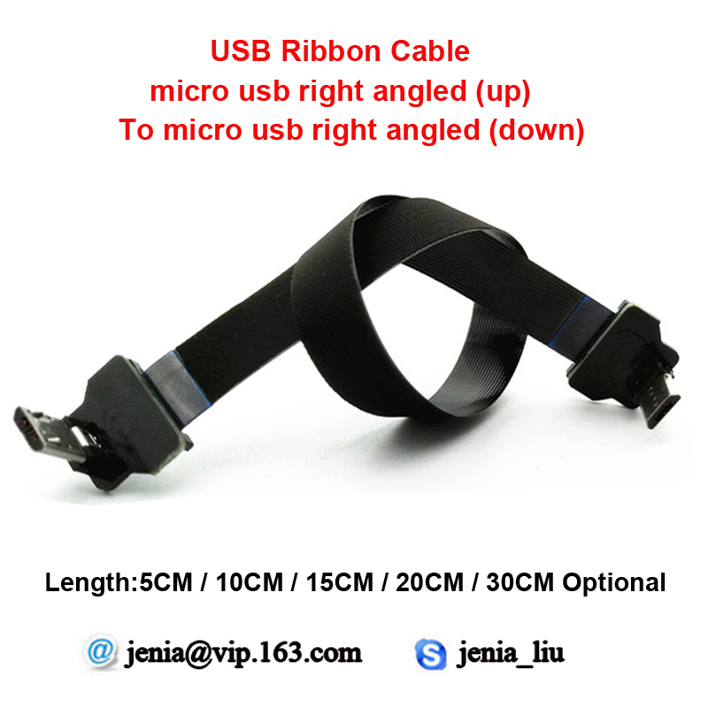 5/10/15/20/30CM Flat ribbon usb metal cable 90 degree Micro USB cable Right Angled ( Up to Down ) ffc ultra thin cable 5 10 15 20 30cm ultra super mini slim usb cable standard usb3 0 type a to male micro up angled ideal for tablet pc camcorder