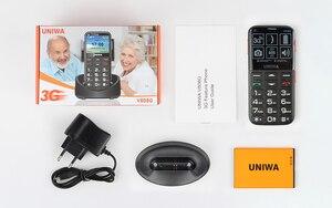 Image 5 - Uniwa V808G رجل يبلغ من العمر الهاتف المحمول 3G SOS زر 1400mAh 2.31 ثلاثية الأبعاد شاشة منحنية الهاتف المحمول مصباح يدوي الشعلة هاتف محمول لكبار السن