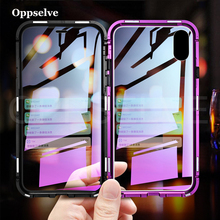 Oppselve Magnetic Phone Case For iPhone XR XS MAX X 8 7 6 6S Plus 8Plus Double Sided Glass Metal 360 Protection Magnet Capinhas