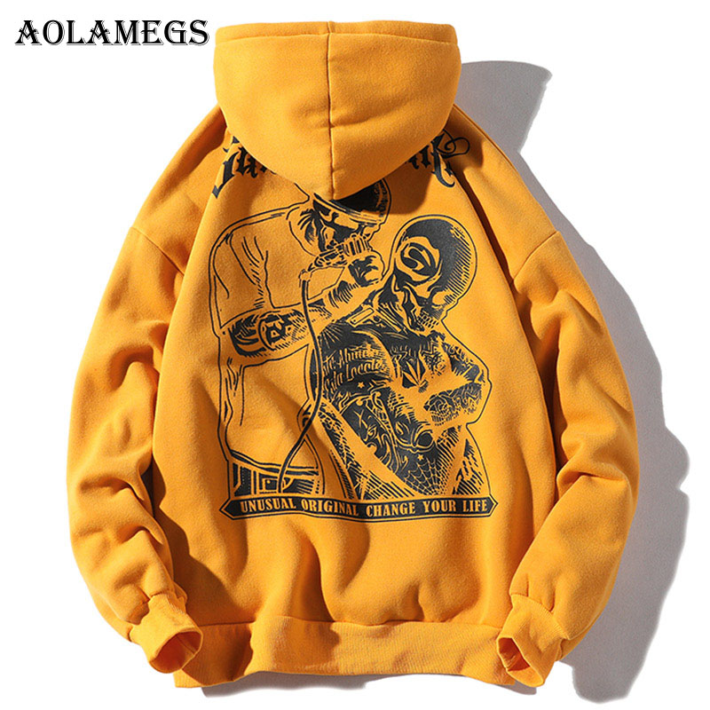 Aolamegs Hoodies Men Letter Printed Hooded Pullover Sweatshirt Men High Street Fashion Hip Hop Hoodie Streetwear Autumn Clothing