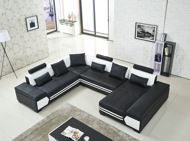 Large U Shaped Sofa Black Leather Couch Living Room And Lounge