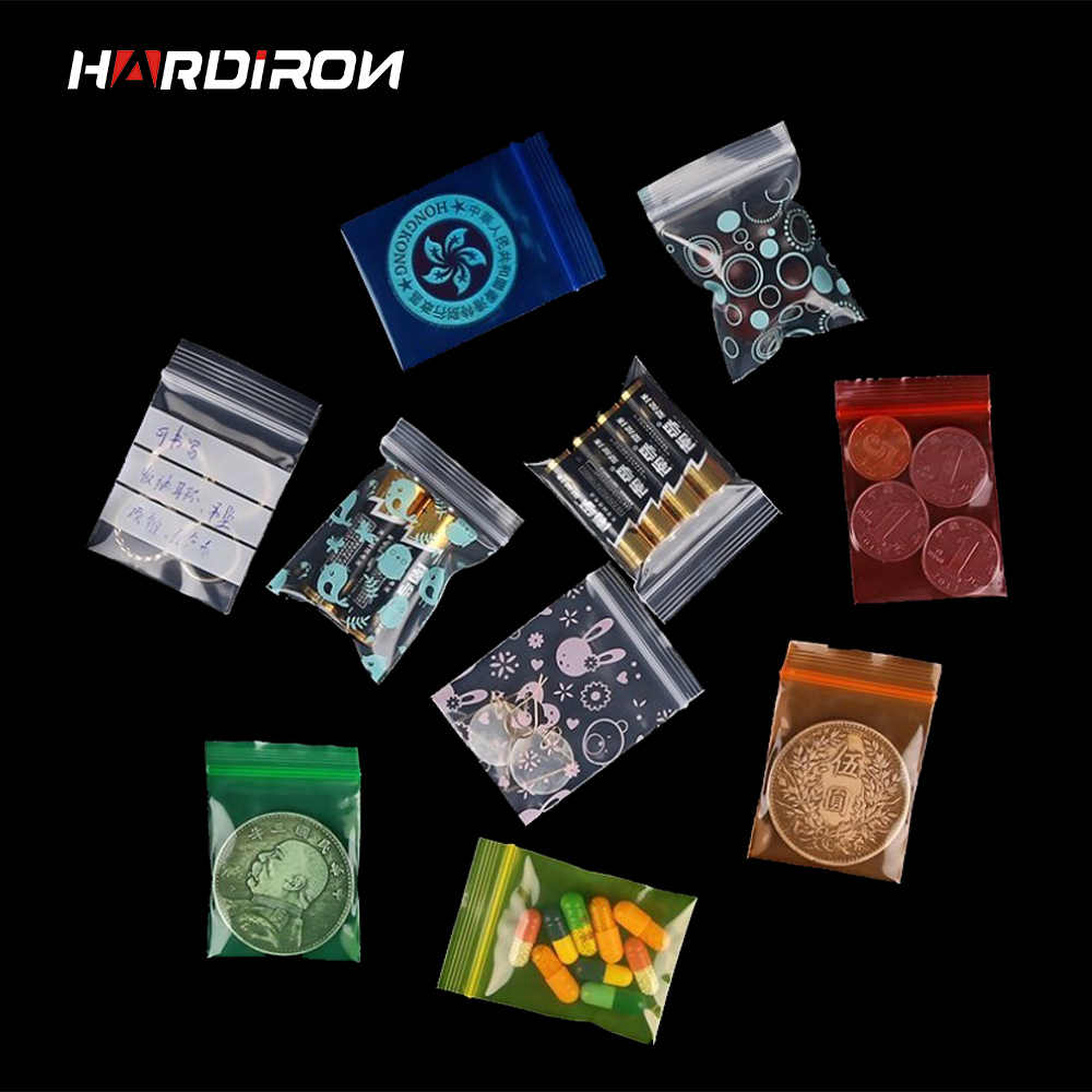 HARDIRON 500PCS Small PE Zipper Plastic Bag Jewelry Ziplock Zip Zipped Lock Reclosable Poly Bags Mix Pattern MIni Thick Pouch