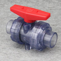 Socket Type Inner Diameter 20 63mm Transparent Double Union Ball Valve UPVC New Material Durable Convenience