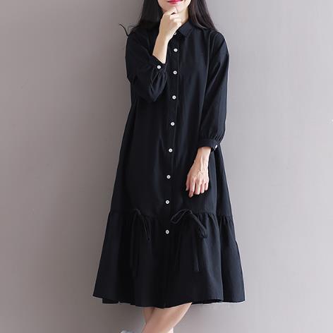 Clobee Cotton And Linen Lolita Women Dress Elegant Mori Girl Black Ladies Dresses Turn-Down Collar School Femme Vestidos Z468 girl