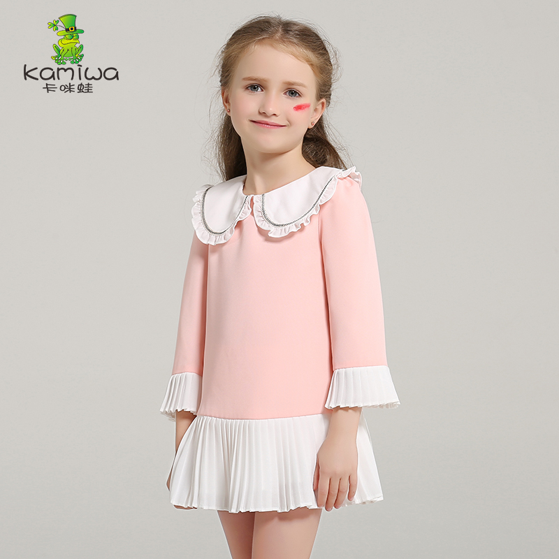 girl autumn dress Korean designer design draped long sleeve patchwork girl dresses baby girl clothes new style fashion clothing 2017 new spring autumn children clothes child clothing dresses baby girl rabbit dress baby long sleeve mesh patchwork dress