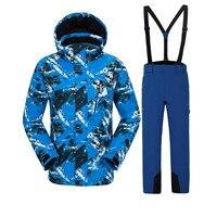 Для мужчин; лыжный костюм Открытый лыжи спортивный теплая одежда с принтом супер камуфляж печати Пеший Туризм Лыжный костюм