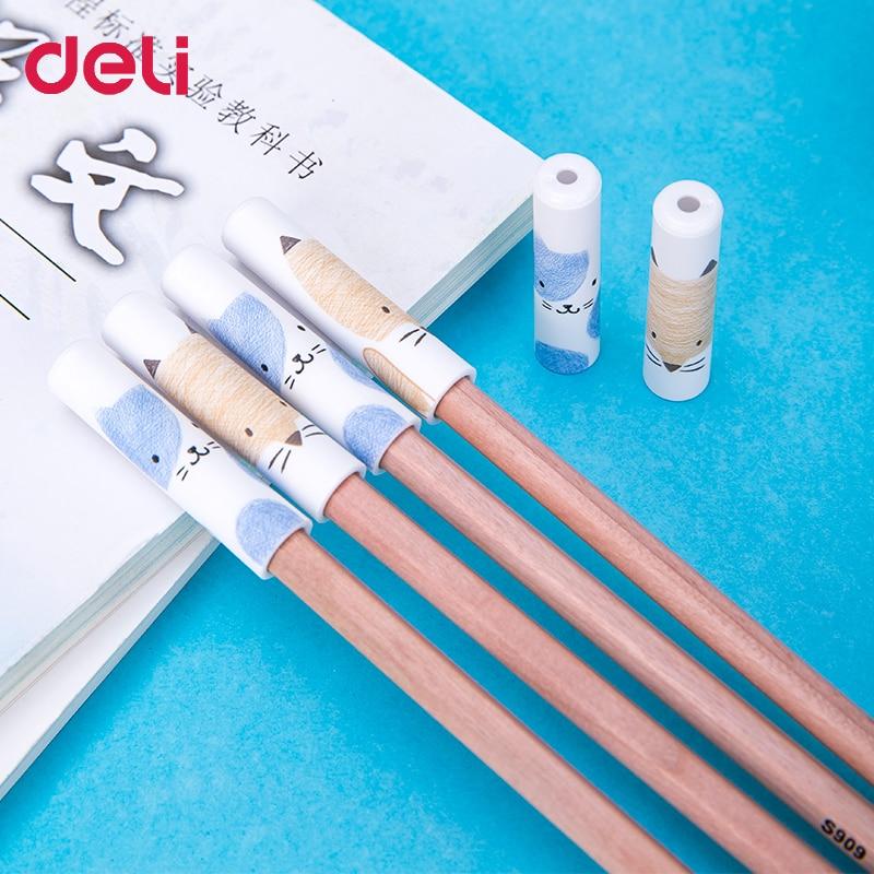 Deli 60pcs kawaii pencil extender cute cat pencil grips for kids handwriting tools stationery school items for prizes pencil cap