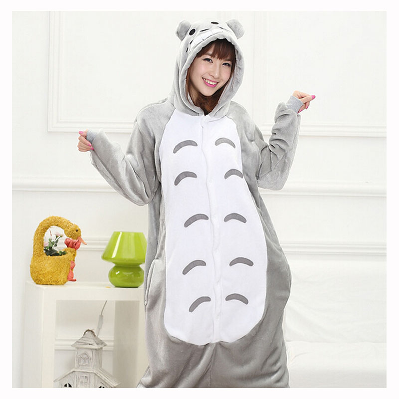 Totoro Kigurumi Tutina di Età Delle Donne di Origine Animale Pigiama Vestito di Flanella Caldo Morbido Degli Indumenti Da Notte di Un Pezzo di Inverno Della Tuta Pijama Cosplay